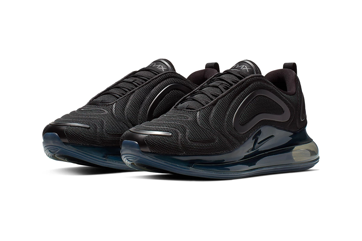 0d5d67ad6112 New Nike Air Max 720  Triple Black     Metallic-White  Colorways ...