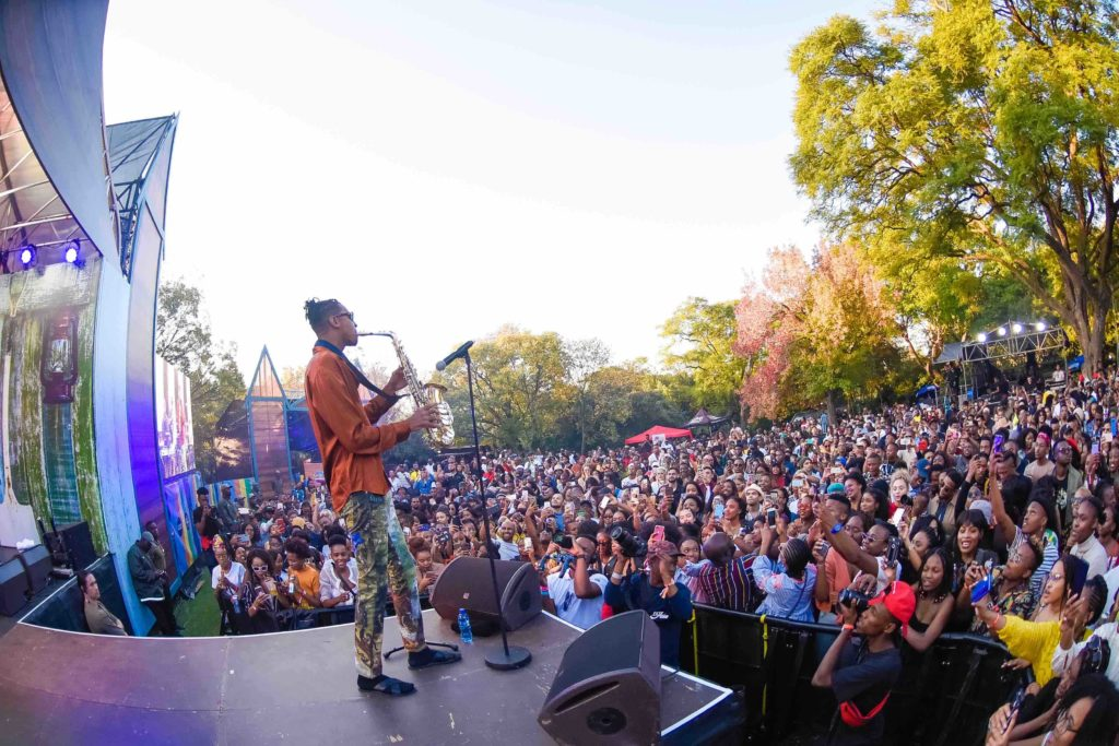 Masego brings international Flavour to the Flying Fish Ultimate #FlavourChillas Backyard Festival Masego Onstage with a Saxophone Flying Fish FlavourChillas Backyard Festival Image by On Air Entertainment