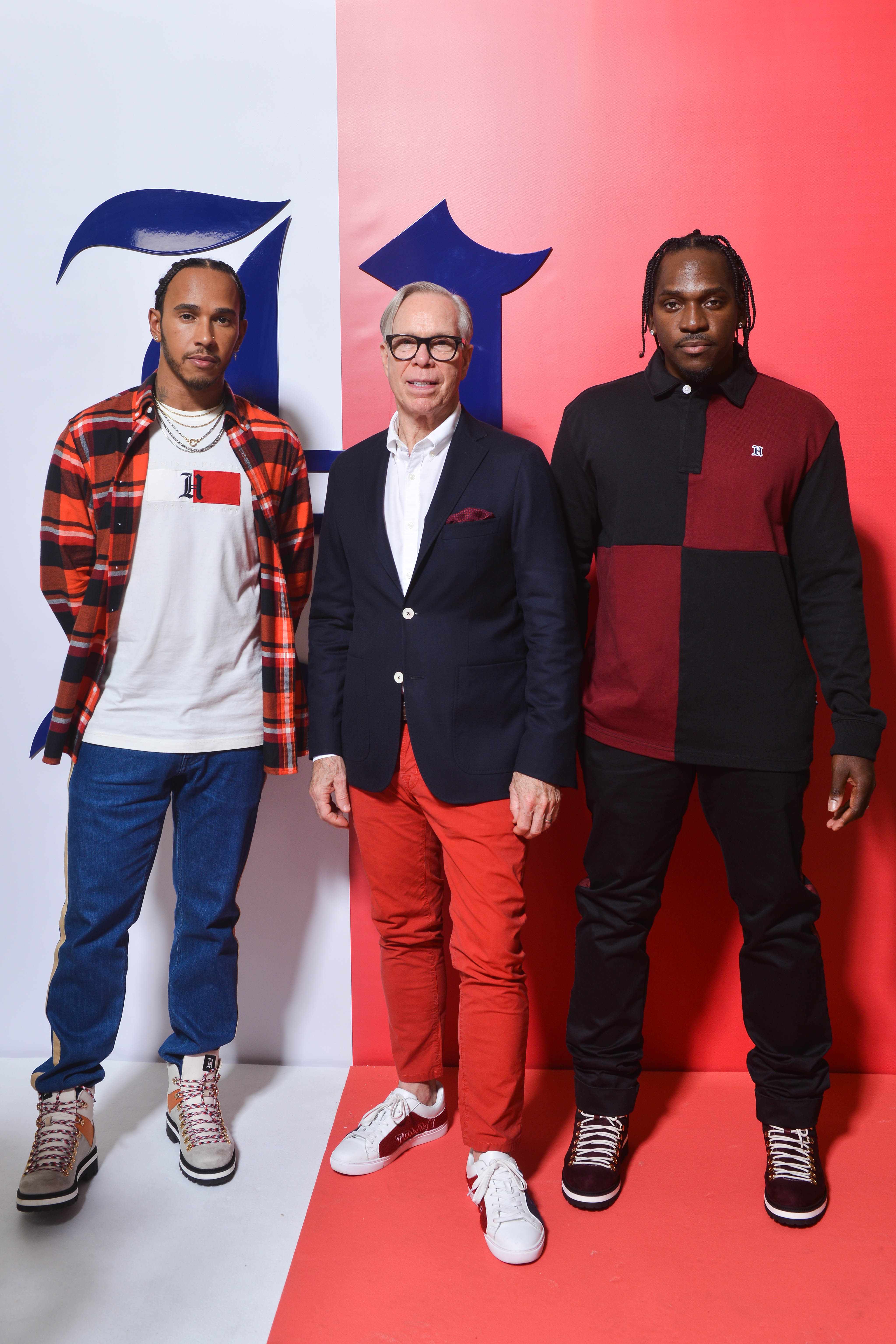 RIKY RICK WEARS TOMMY HILFIGER TO THE FALL 2019 TOMMYNOW TOMMYXLEWIS EXPERIENTIAL EVENT IN MILAN Lewis Hamilton Tommy Hilfiger and Pusha T JPG