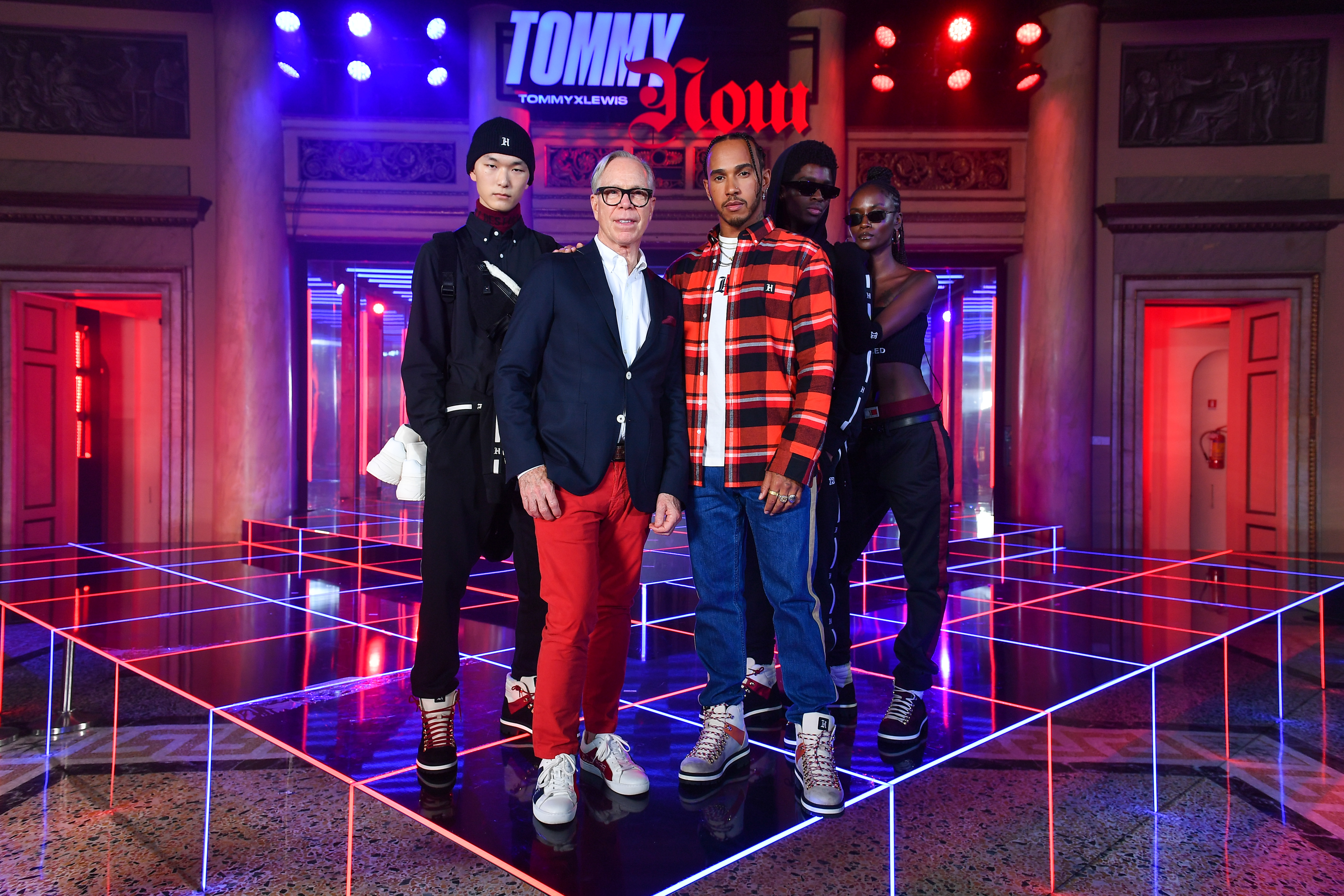 RIKY RICK WEARS TOMMY HILFIGER TO THE FALL 2019 TOMMYNOW TOMMYXLEWIS EXPERIENTIAL EVENT IN MILAN Xu Meen Tommy Hilfiger Lewis Hamilton Alton Mason Riley Montana JPG